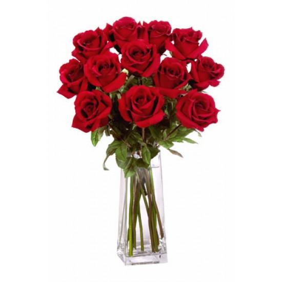 12 Long Stem Premium Roses Wrapped Vase Bouquet
