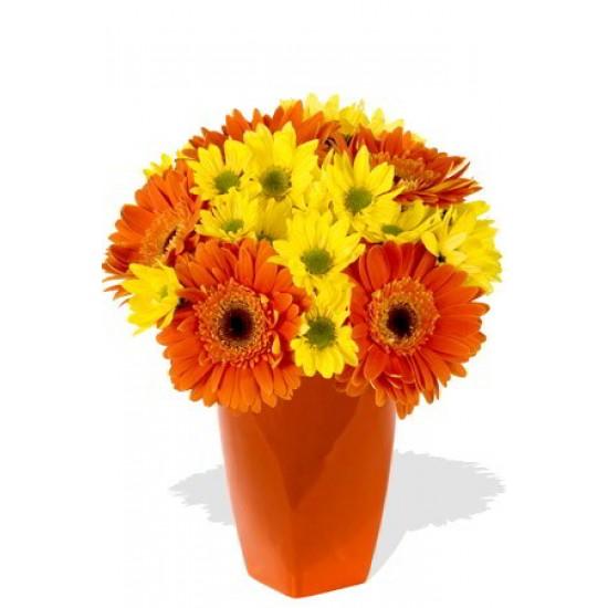 10 Gerberas and Chrysanthemum Vase Bouquet