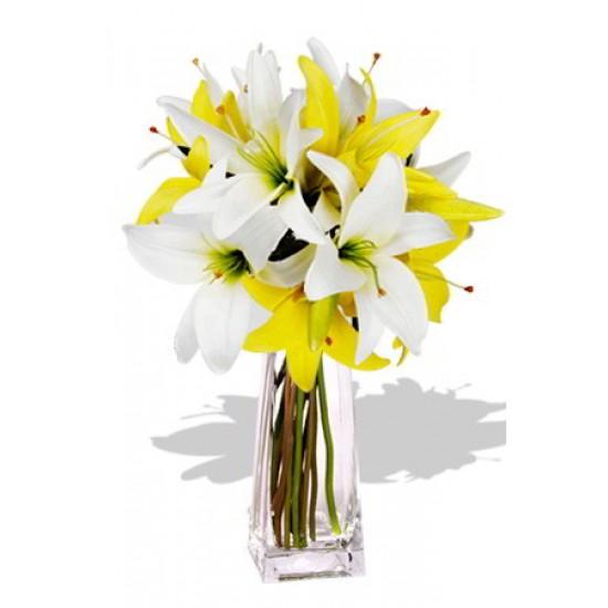 4pcs Asiatic Lily Bouquet Vase Bouquet