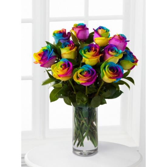 One Dozen Rainbow Roses in Vase